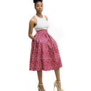 Studio One Afrique Ovota Ankara Midi Skirt NWT